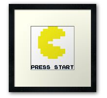 YELLOW PACMAN RETRO PRESS START ARCADE TSHIRT Framed Print