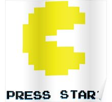 YELLOW PACMAN RETRO PRESS START ARCADE TSHIRT Poster