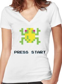 FROGGER RETRO PRESS START ARCADE TSHIRT Women's Fitted V-Neck T-Shirt