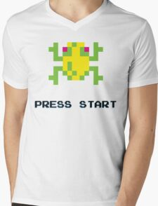 FROGGER RETRO PRESS START ARCADE TSHIRT Mens V-Neck T-Shirt