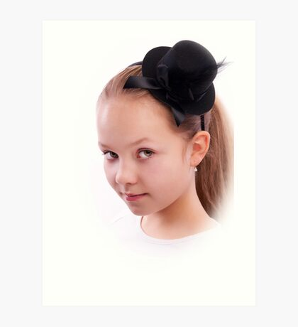 Portrait of  a girl in black hat Art Print