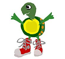 Funny Cool Green Turtle with Red High Top Shoes Photographic Print