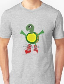 Funny Cool Green Turtle with Red High Top Shoes T-Shirt