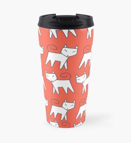 Pattern white cat running in a row Travel Mug