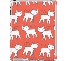 Pattern white cat running in a row iPad Case/Skin