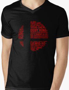 Super Smash Bros. Typography Mens V-Neck T-Shirt