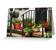 Pansies and Geraniums on Stoop Greeting Card