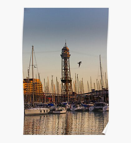 Sunset over the harbour Poster