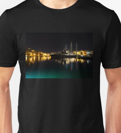 Reflecting on Malta - Vittoriosa and Senglea Megayachts Unisex T-Shirt