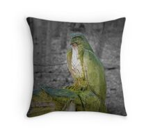 Chainsaw carved bird of prey Throw Pillow