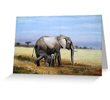 African Mother Elephant with its child  Greeting Card