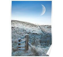 Crecsent moon hillside Poster
