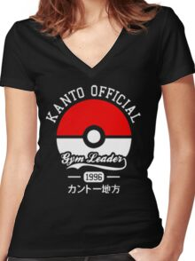 KANTO OFFICIAL POKEMON GYM Women's Fitted V-Neck T-Shirt