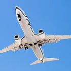 Belly shot of an Alaska Airlines Boeing 737 by Henry Plumley