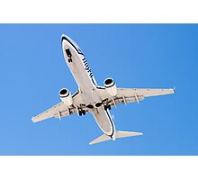 Belly shot of an Alaska Airlines Boeing 737 Photographic Print