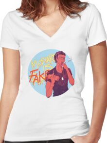 Moriarty was FAKE Women's Fitted V-Neck T-Shirt