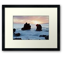 Frothy seas and rocks Framed Print