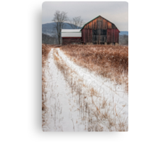 Old Rustic Barn and Snow Canvas Print