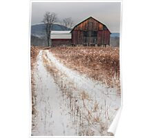 Old Rustic Barn and Snow Poster