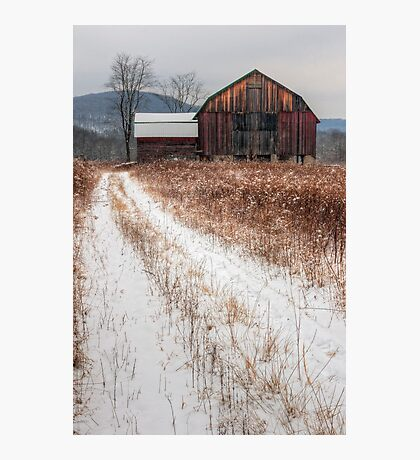 Old Rustic Barn and Snow Photographic Print