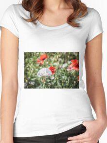White Poppy in Field Women's Fitted Scoop T-Shirt
