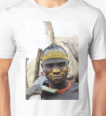 Mursi tribesmen. A nomadic cattle herder ethnic group located in Southern Ethiopia,  Unisex T-Shirt