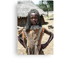 Tsamai woman wearing traditional leather clothing and shell necklace  Canvas Print