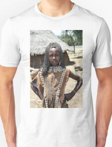 Tsamai woman wearing traditional leather clothing and shell necklace  T-Shirt