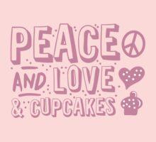 PEACE LOVE AND CUPCAKES Kids Tee