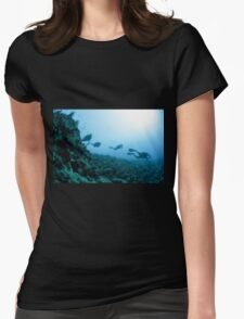 Scuba divers in the water  Womens Fitted T-Shirt