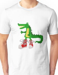 Funky Cool Alligator in Red High Tops Unisex T-Shirt