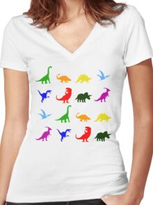 Fun Dinosaur Pattern Women's Fitted V-Neck T-Shirt