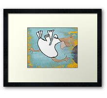 Tilly Pelican Takes A Leap Of Faith Framed Print