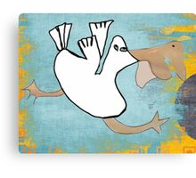 Tilly Pelican Takes A Leap Of Faith Canvas Print