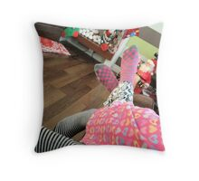 Pink and Black, Black and Pink Throw Pillow