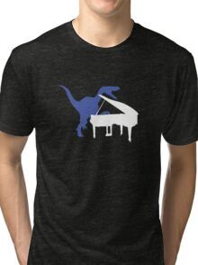 Velociraptor Playing Piano Tri-blend T-Shirt