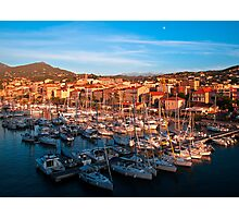 Sunset over Propriano harbour Photographic Print