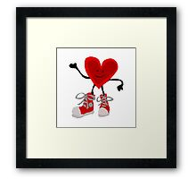 Funny Cool Heart Character with Red Sneakers Framed Print