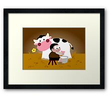 Milking Boy Framed Print