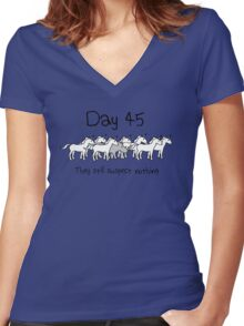 Day 45. They still suspect nothing. (Rhino + Unicorns) Women's Fitted V-Neck T-Shirt