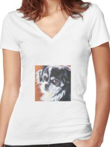 Tibetan Spaniel Fine Art Painting Women's Fitted V-Neck T-Shirt