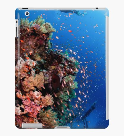 Scuba Divers pass by a coral reef photographed at Ras Mohammed  iPad Case/Skin