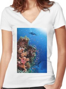 Scuba Divers pass by a coral reef photographed at Ras Mohammed  Women's Fitted V-Neck T-Shirt