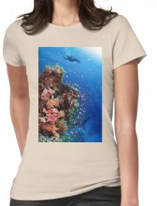 Scuba Divers pass by a coral reef photographed at Ras Mohammed  Womens Fitted T-Shirt