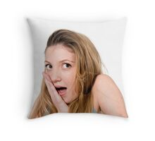 Surprised Young teen girl  Throw Pillow
