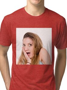 Surprised Young teen girl  Tri-blend T-Shirt