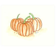 The Pumpkin Patch Illustration Watercolor Painting Art Print