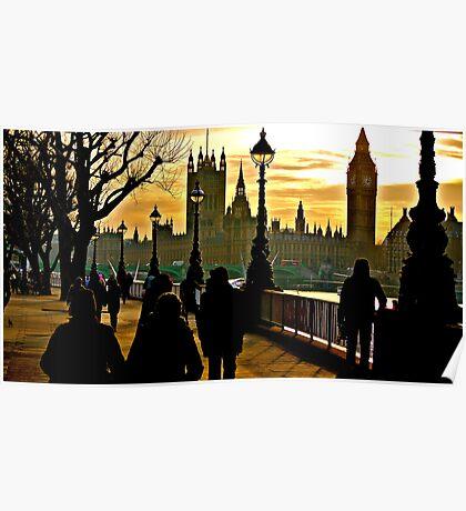 Winter Sunburst over London Poster