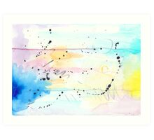 Splash, Scatter and Swim Watercolor Abstract Art Print