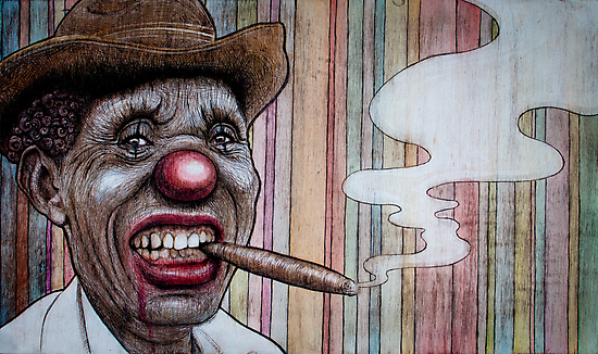 smoking clown man by Fay Helfer